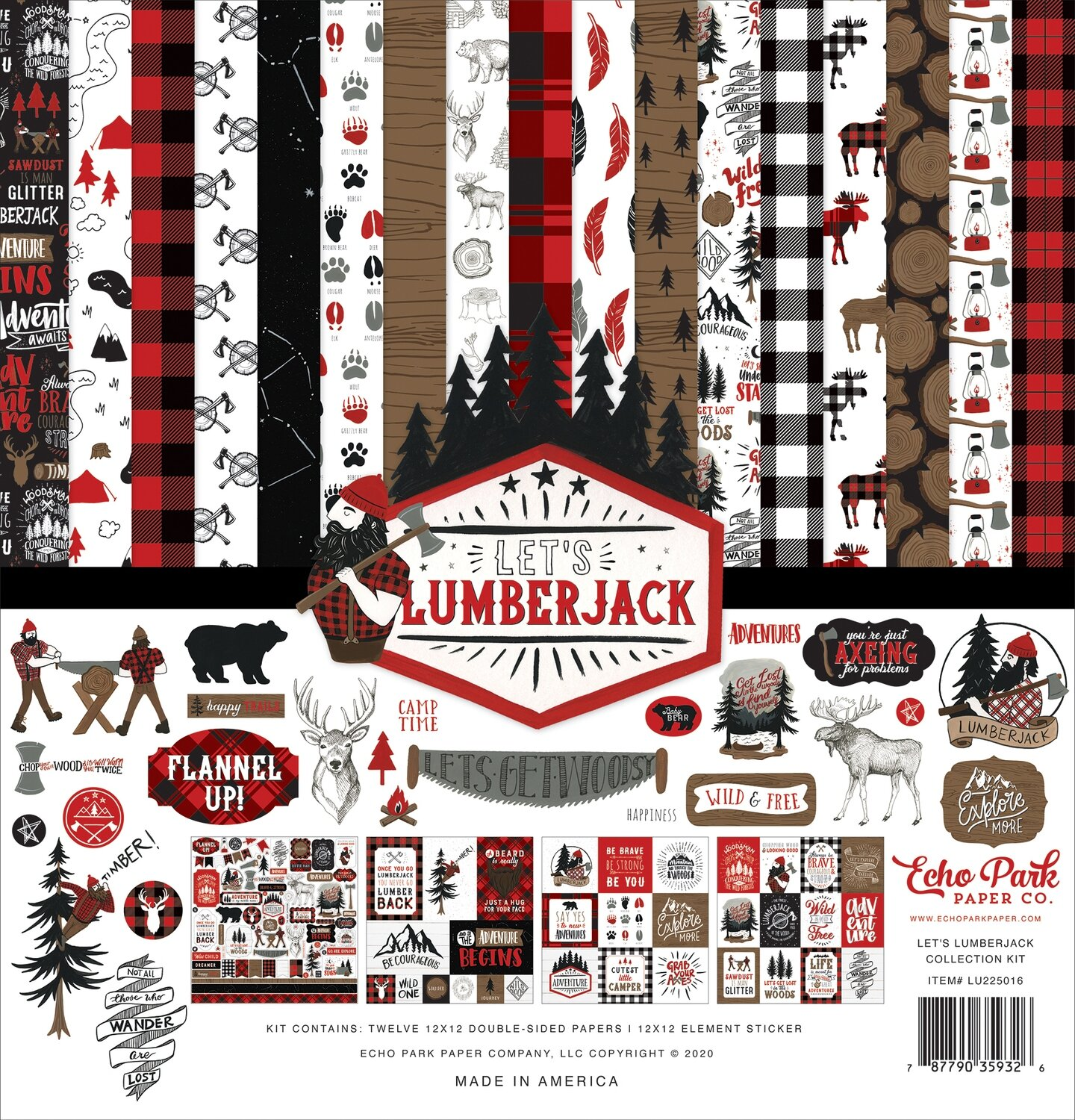 """Echo Park Let's Lumberjack 12"""" x 12"""" collection pack"""