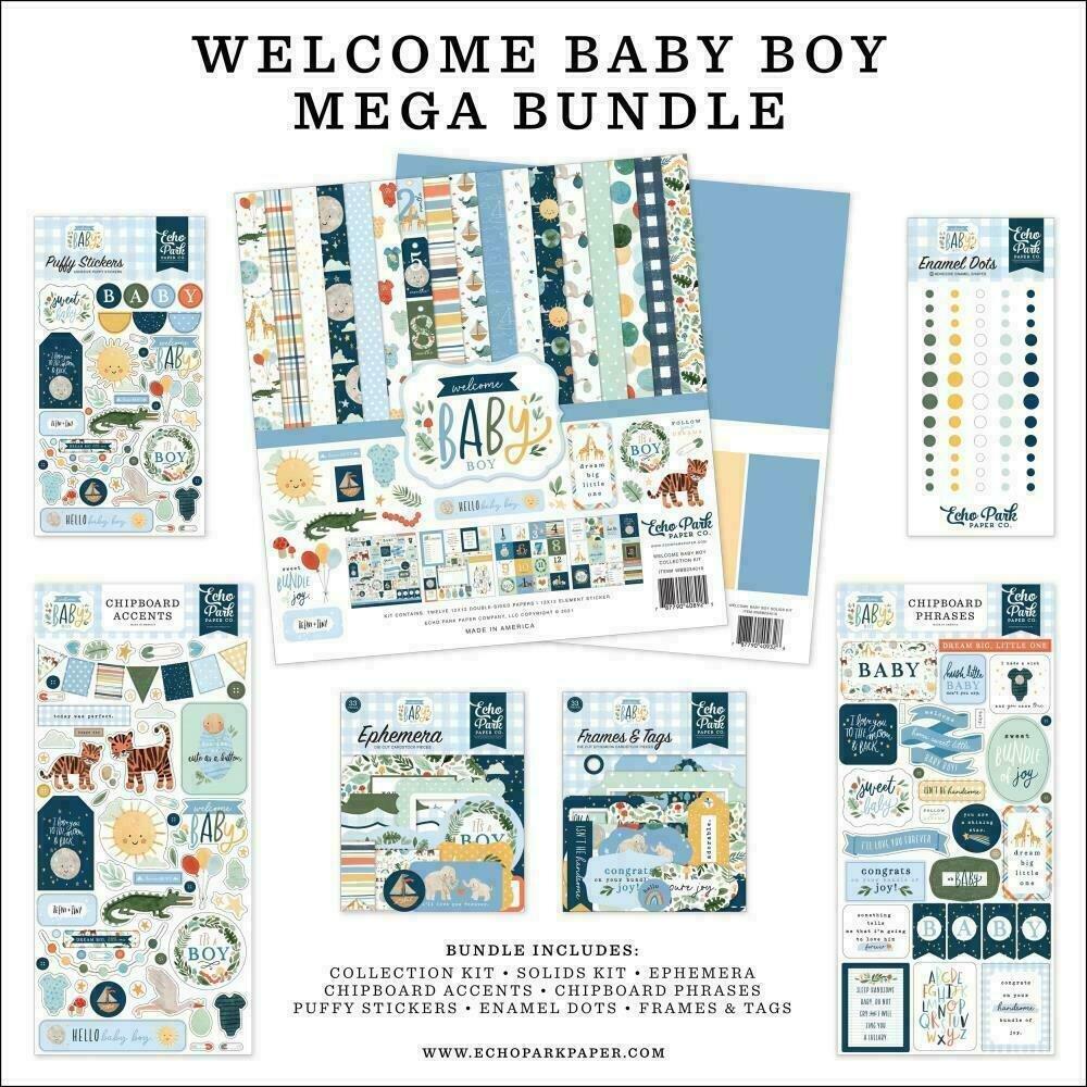 "Echo Park Mega Bundle Collection Kit 12""X12"" Welcome Baby Boy"