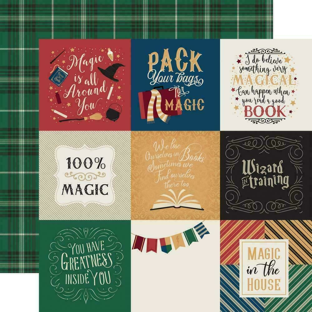 """Echo Park Witches & Wizards Double-Sided Cardstock 12""""X12"""" 4""""X4"""" Journaling Cards"""