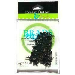 Eyelet Outlet Round Brads 4mm 70/Pkg Black