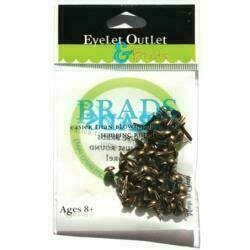 Eyelet Outlet Round Brads 4mm 70/PkgBrushed Brass