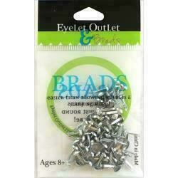 Eyelet Outlet Round Brads 4mm 70/Pkg Silver