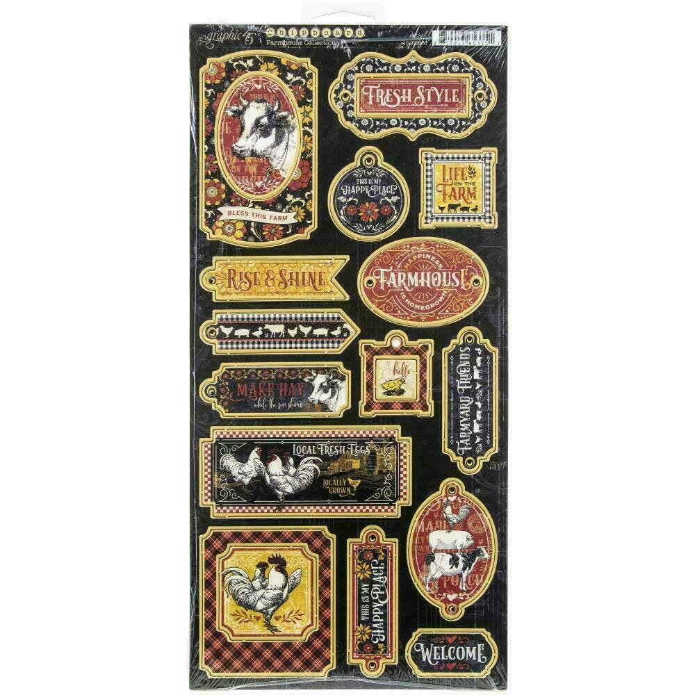 "Farmhouse Chipboard Die-Cuts 6""X12"" Sheet by Graphic 45"