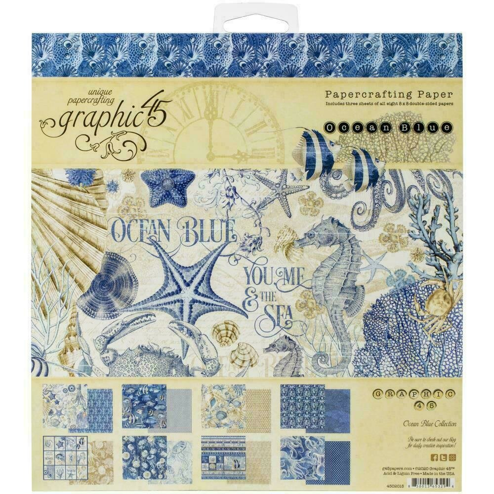 """Graphic 45 Double-Sided Paper Pad 8""""X8"""" 24/Pkg Ocean Blue Collection"""