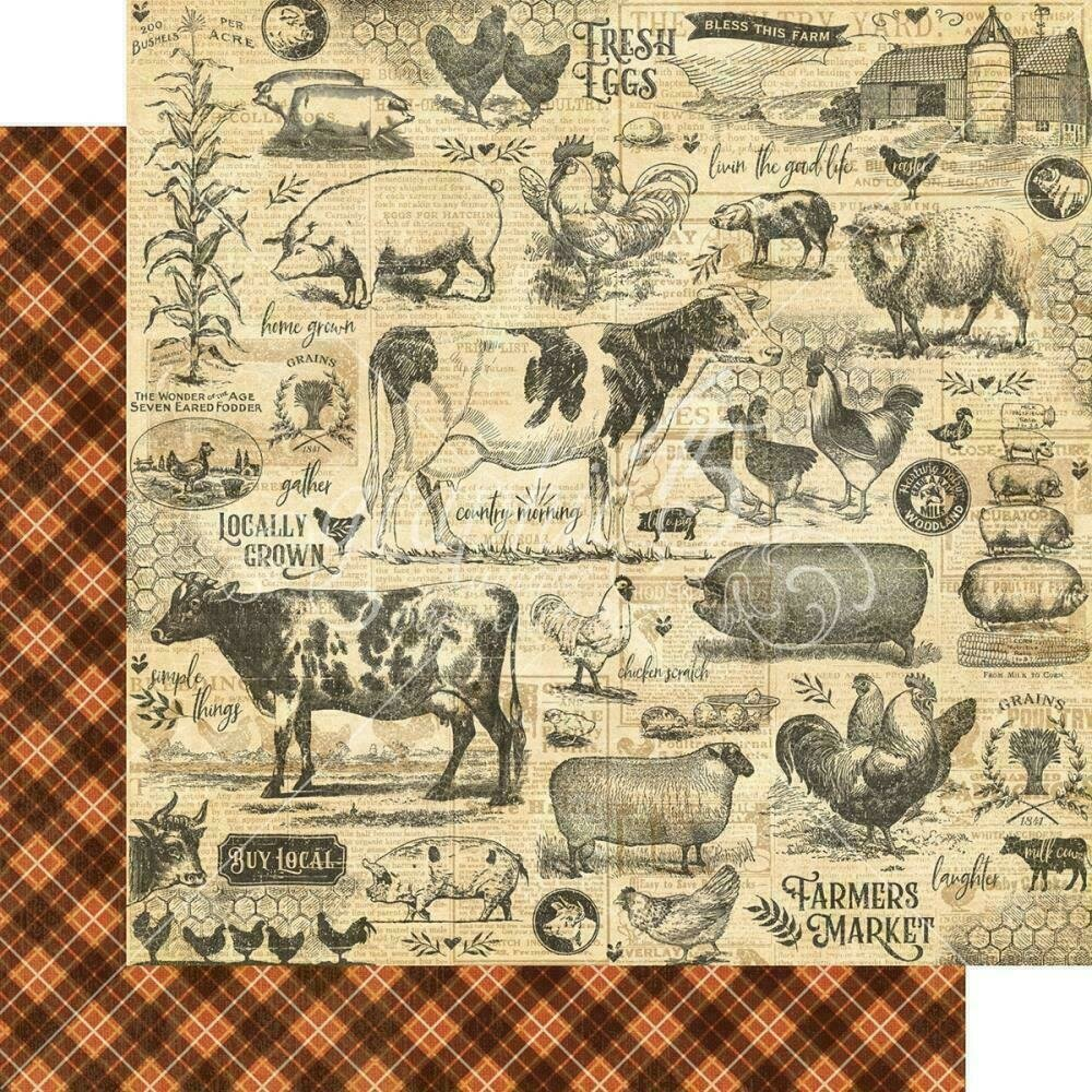 """Graphic 45 Farmhouse Double-Sided Cardstock 12""""X12"""" Gather Together"""