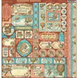 "Graphic 45 Imagine Cardstock Stickers 12""X12"""