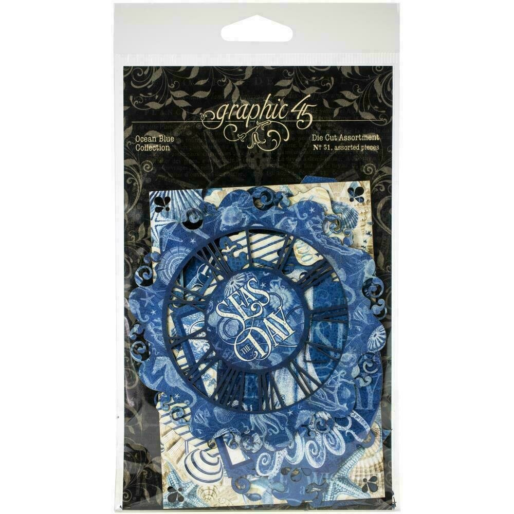 Graphic 45 Ocean Blue Cardstock Die-Cut Assortment by Graphic 45