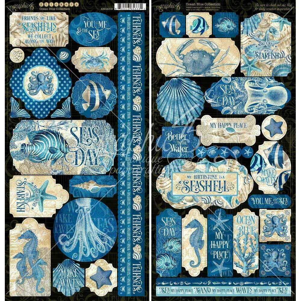 "Graphic 45 Ocean Blue Cardstock Stickers 12""X12"""
