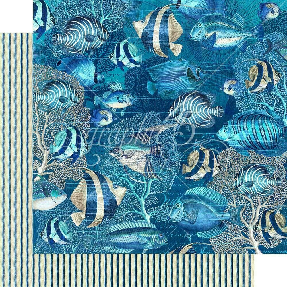 """Graphic 45 Ocean Blue Double-Sided Cardstock 12""""X12""""Capri"""