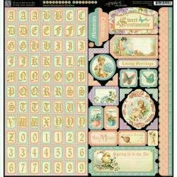 """Graphic 45 Sweet Sentiments Cardstock Stickers 12""""X12"""" Alpha Borders Tags etc."""