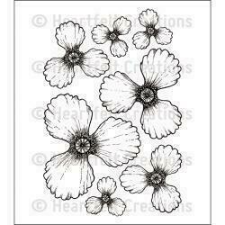 "Heartfelt Creations Cling Rubber Stamp Set 5""X6.5"" Blazing Poppy Petals"