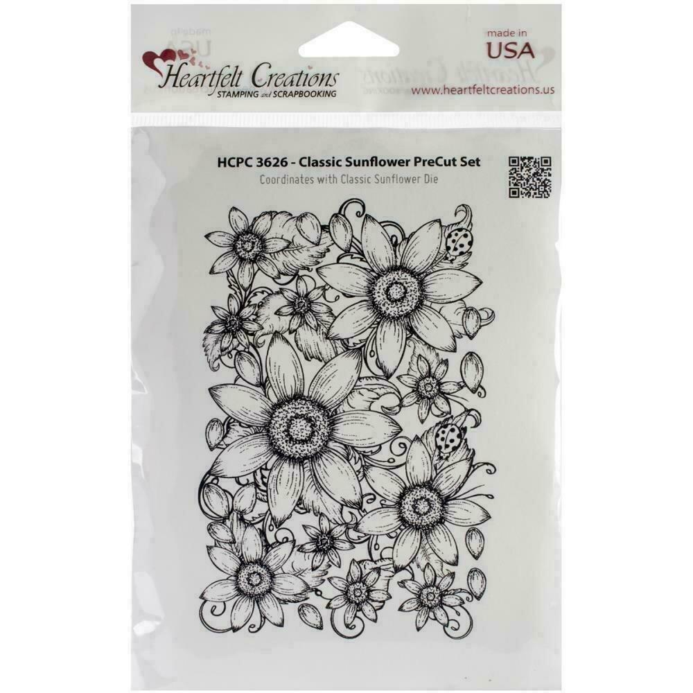 "Heartfelt Creations Cling Rubber Stamp Set 5""X6.5"" Classic Sunflower"