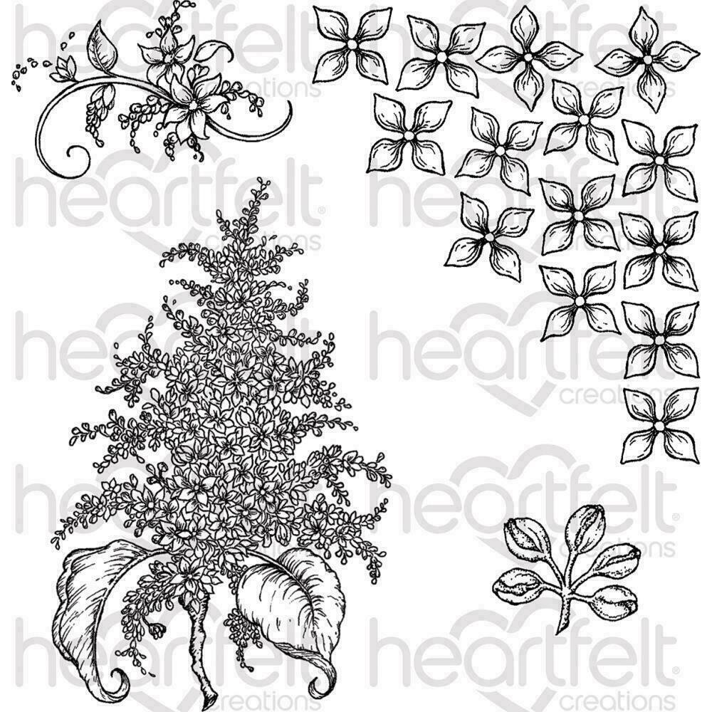 """Heartfelt Creations Cling Rubber Stamp Set 5""""X6.5"""" Lush Lilac"""