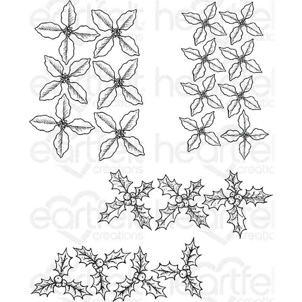 """Heartfelt Creations Cling Rubber Stamp Set 5""""X6.5"""" Poinsettia & Holly"""