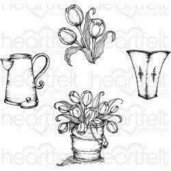 """Heartfelt Creations Cling Rubber Stamp Set 5""""X6.5"""" Tulip Bouquet 1.75"""" To 3"""""""