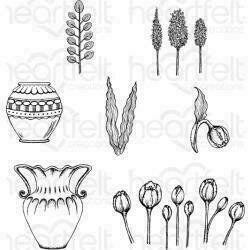 """Heartfelt Creations Cling Rubber Stamp Set 5""""X6.5"""" Tulip Vase & Fillers .75"""" To 3.5"""""""