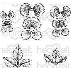 Heartfelt Creations Cling Rubber Stamp Set Burst Of Spring  Cheery Pansy