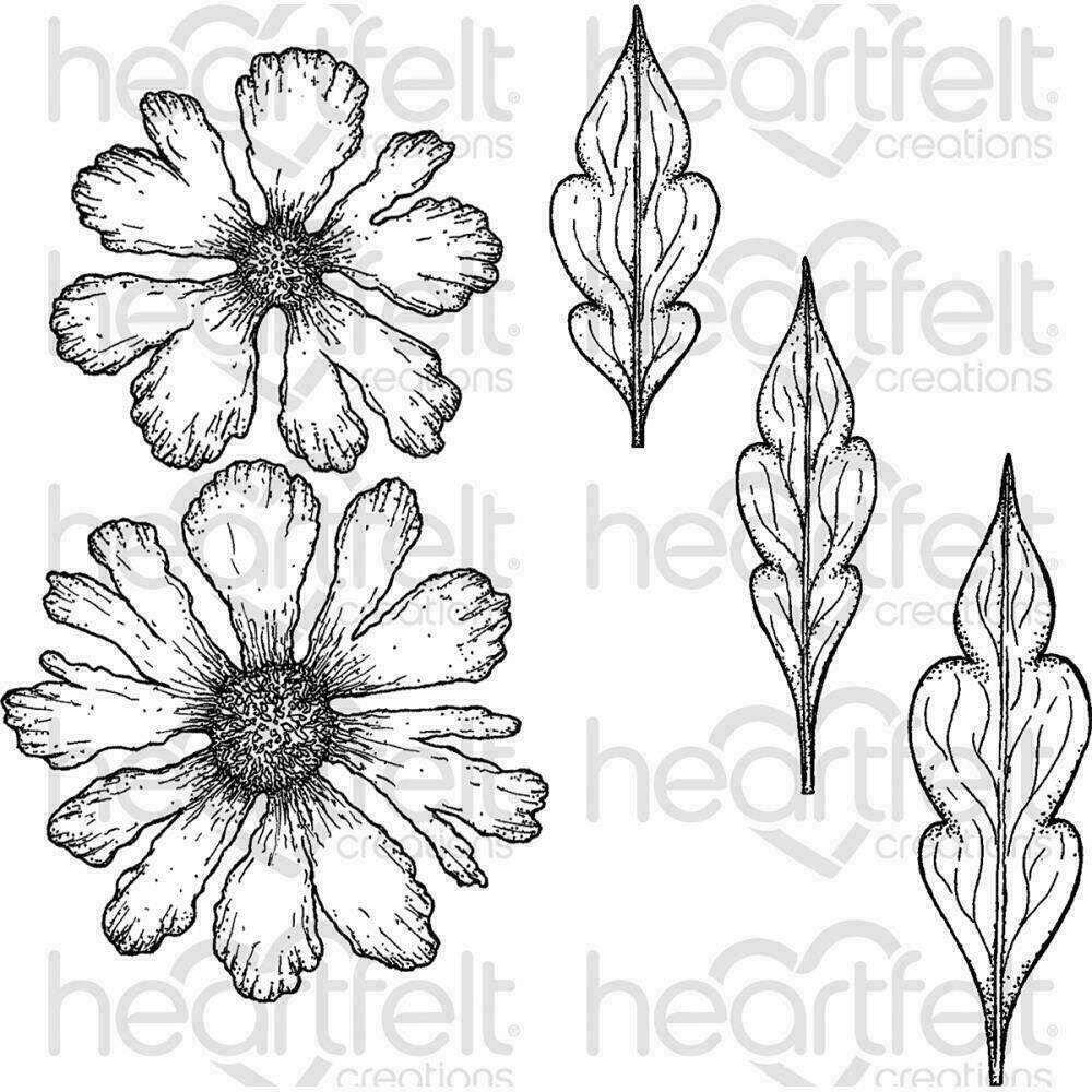 Heartfelt Creations Cling Rubber Stamp Set Large Sweet Peony