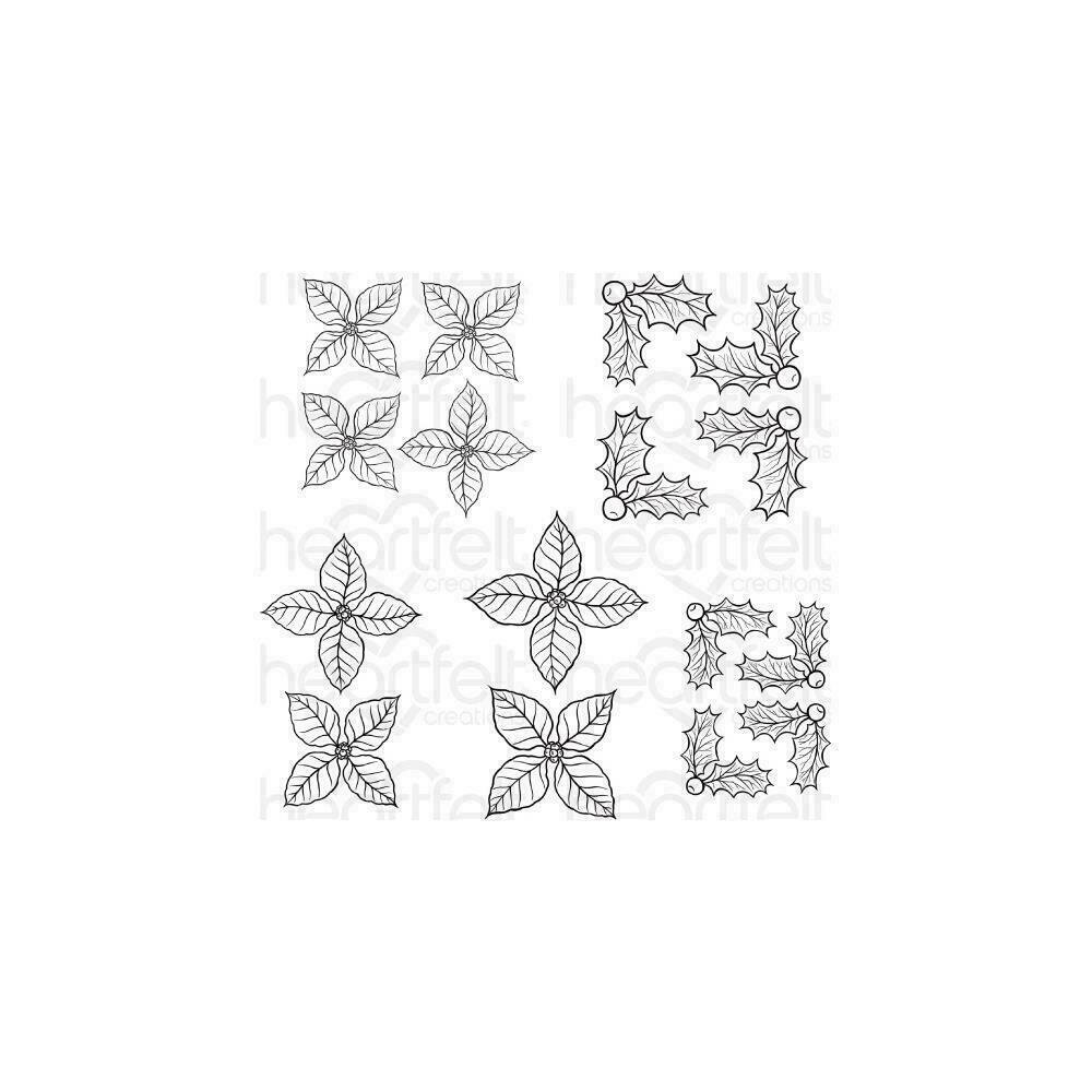 Heartfelt Creations Cling Rubber Stamp Set Poinsettia & Holly