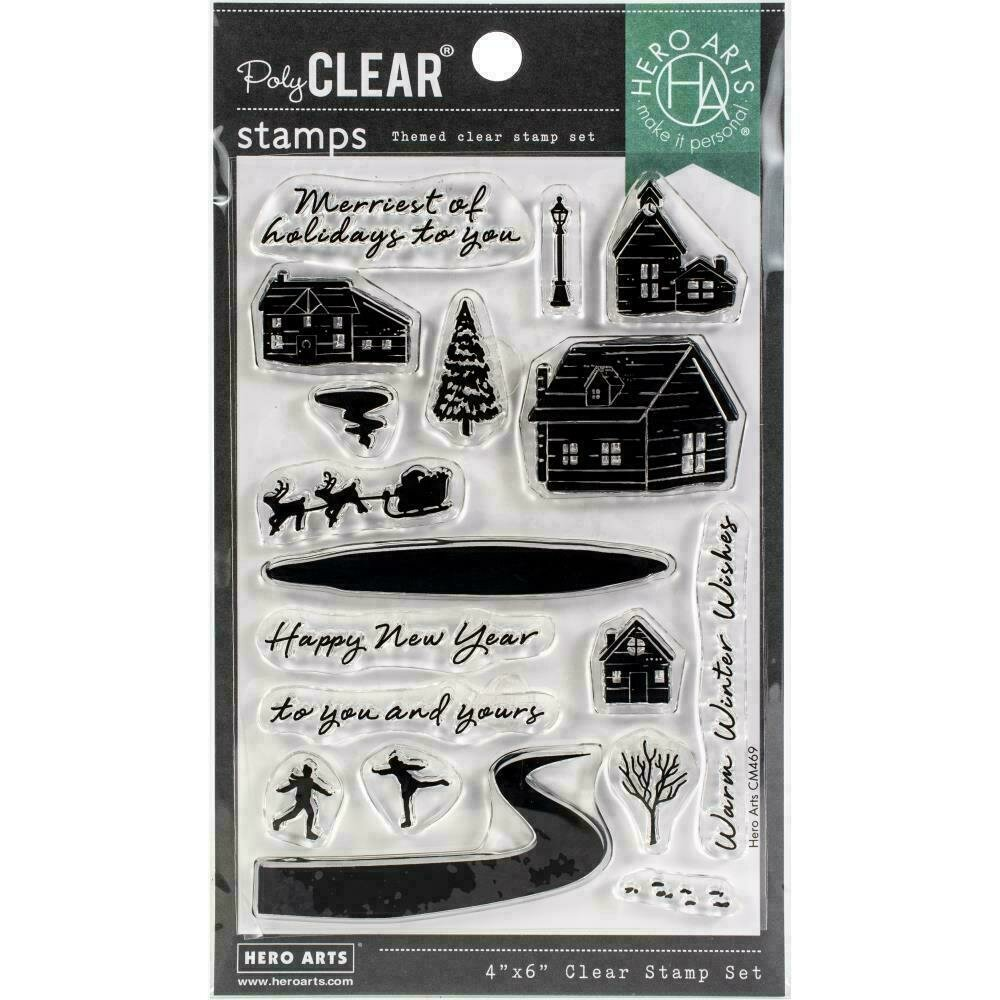 """Hero Arts Clear Stamps 4""""X6"""" Snowy Town"""