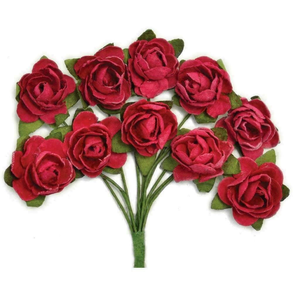 Kaisercraft Mini Paper Blooms Flowers W/Wire Stem 10/Pkg Cranberry