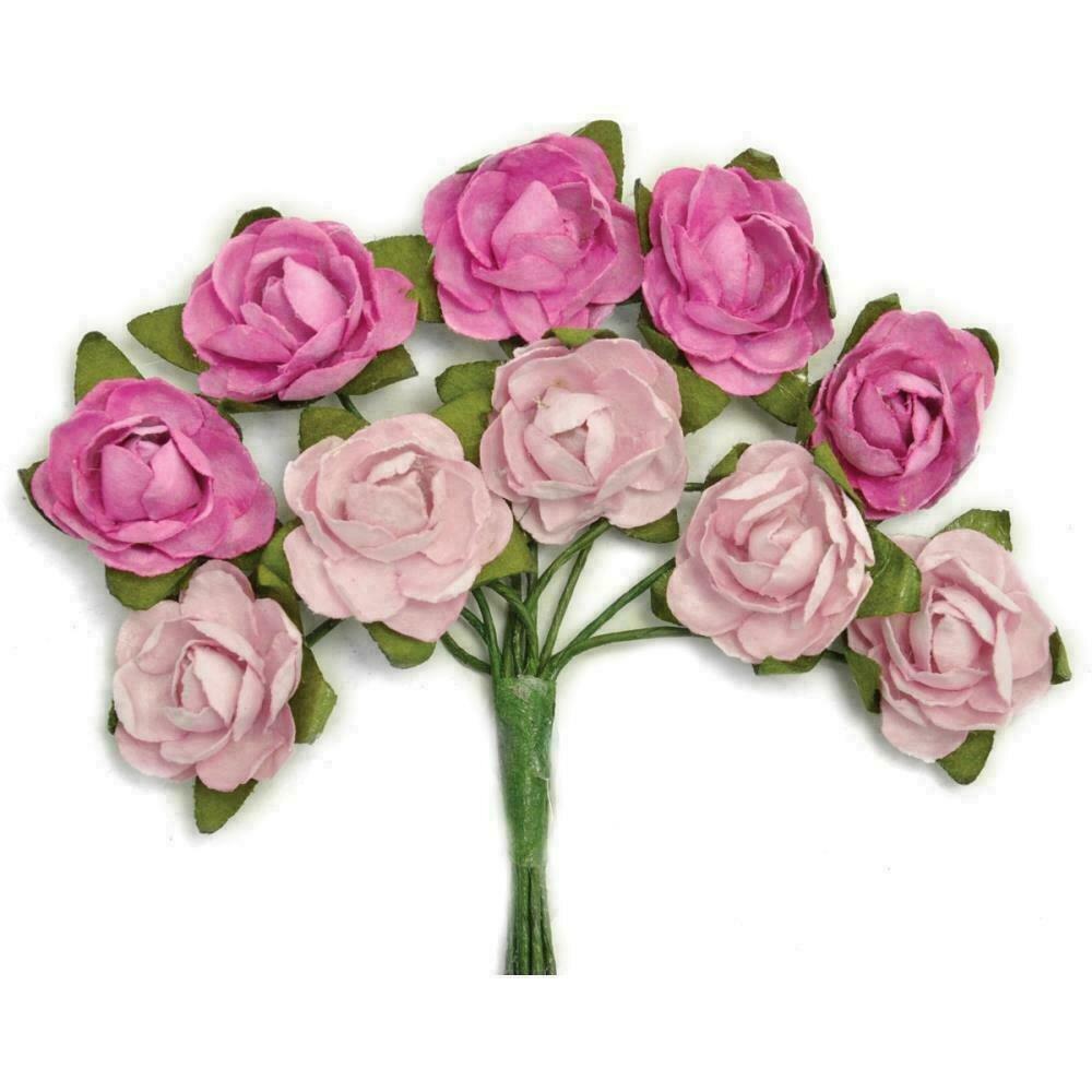 Kaisercraft Mini Paper Blooms Flowers W/Wire Stem 10/Pkg Fuchsia