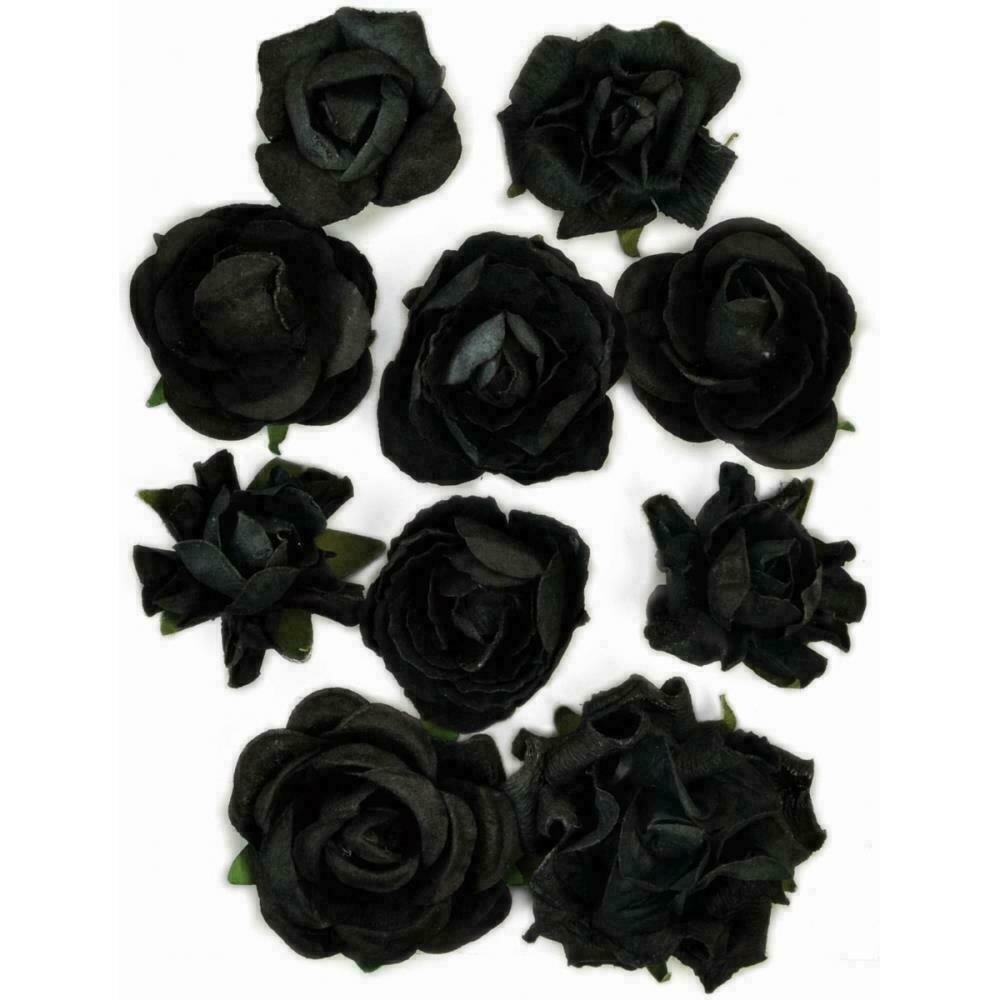 "Kaisercraft Paper Blooms 10/Pkg Black 1"" - 1.5"""