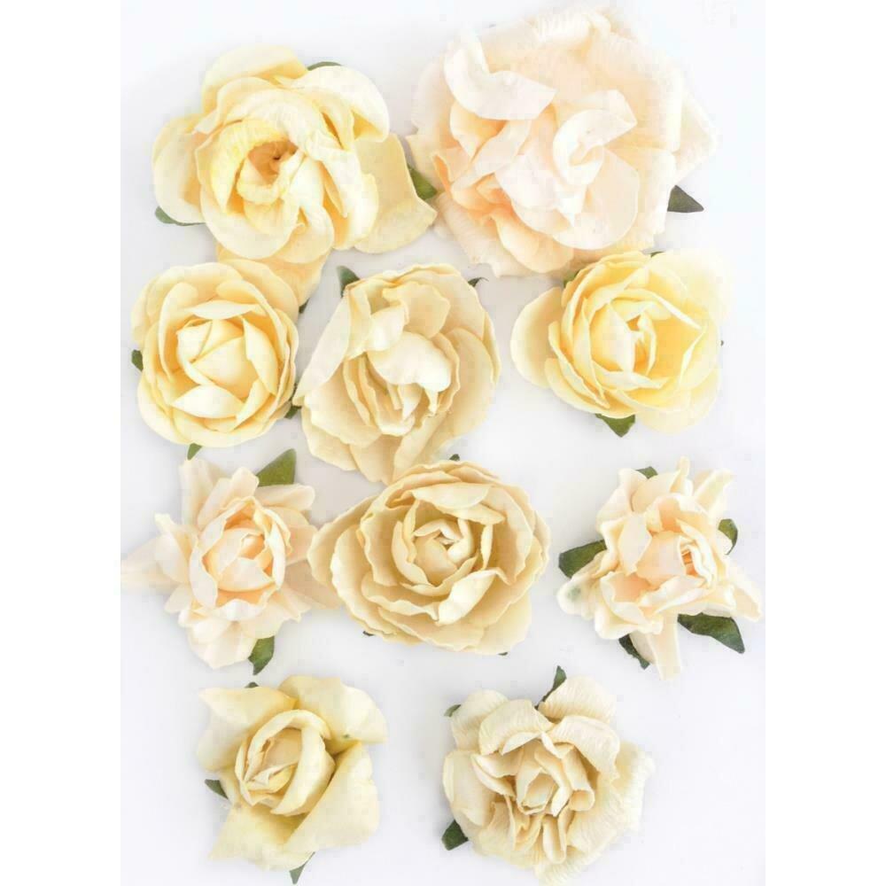 """Kaisercraft Paper Blooms 10/Pkg Buttercream 1"""" - 1.5"""""""