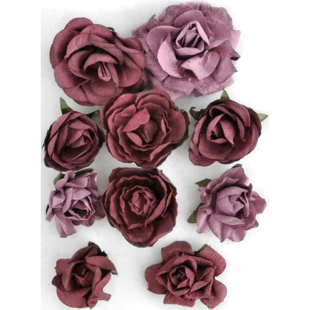 """Kaisercraft Paper Blooms 10/Pkg Cranberry 1"""" - 1.5"""""""