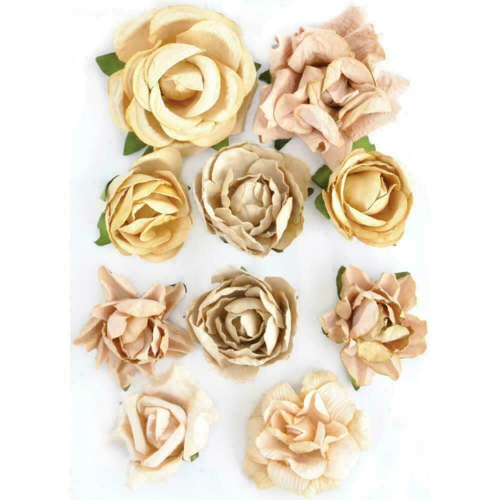 """Kaisercraft Paper Blooms 10/Pkg Honey 1""""-1.5"""""""