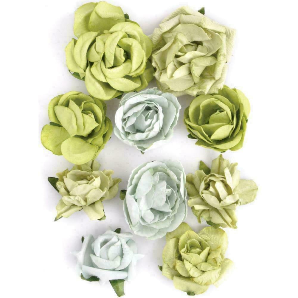 "Kaisercraft Paper Blooms 10/Pkg Olive 1"" - 1.5"""