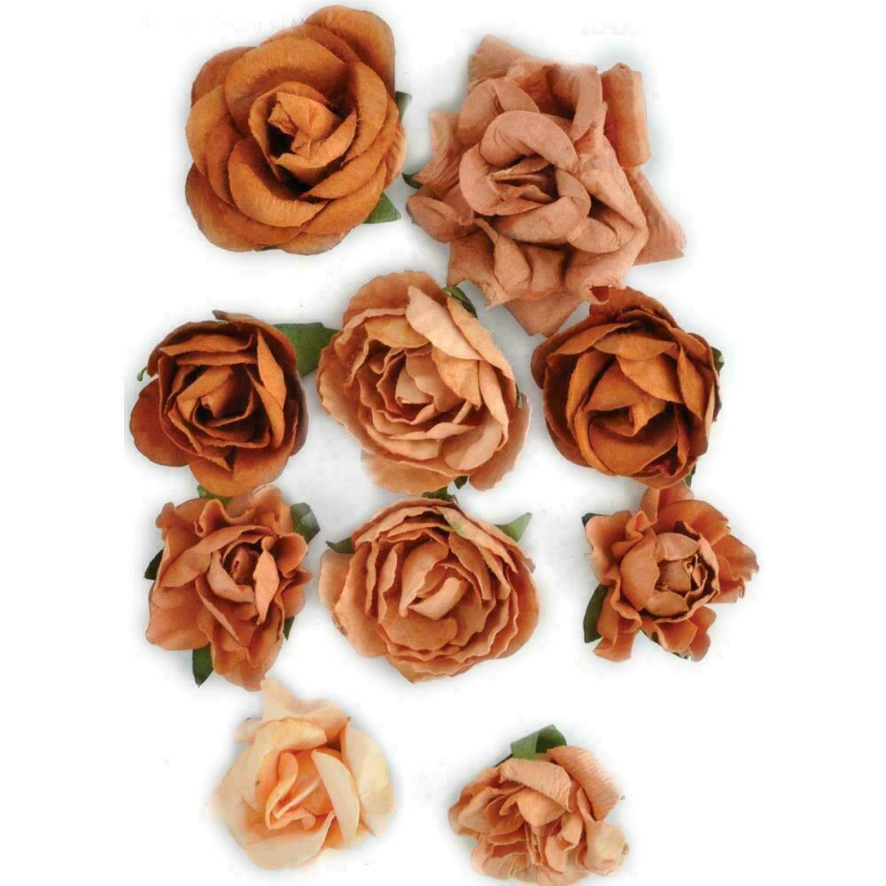 """Kaisercraft Paper Blooms 10/Pkg Terra Cotta 1"""" - 1.5"""""""