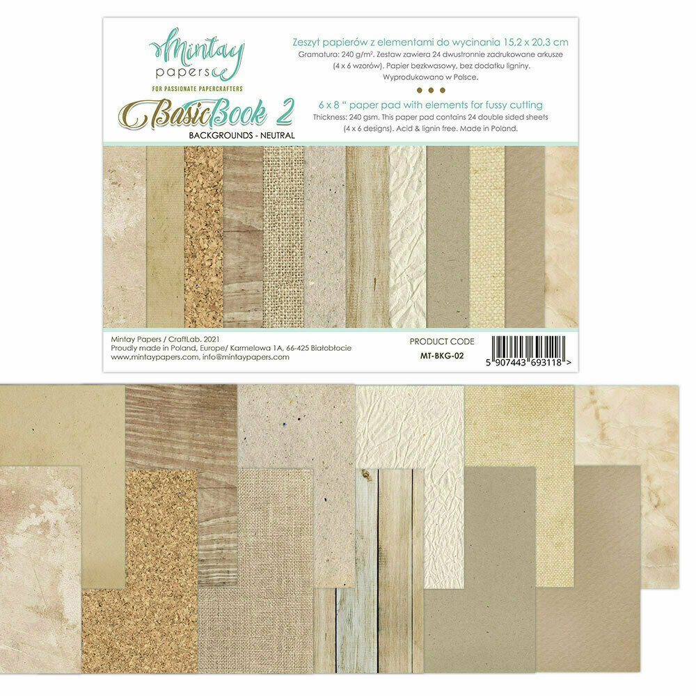 Mintay Papers Basic Book 2 Backgrounds - Neutral