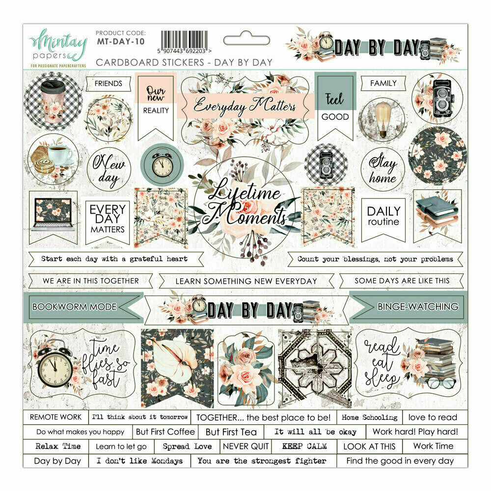 Mintay Papers DAY BY DAY 12 x 12 chipboard sticker sheet
