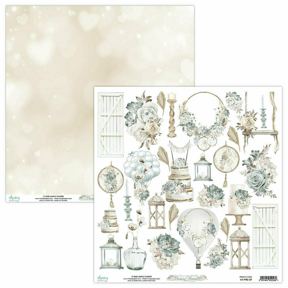 Mintay Papers PRECIOUS MOMENT 12 x 12 CUT APART sheet #9