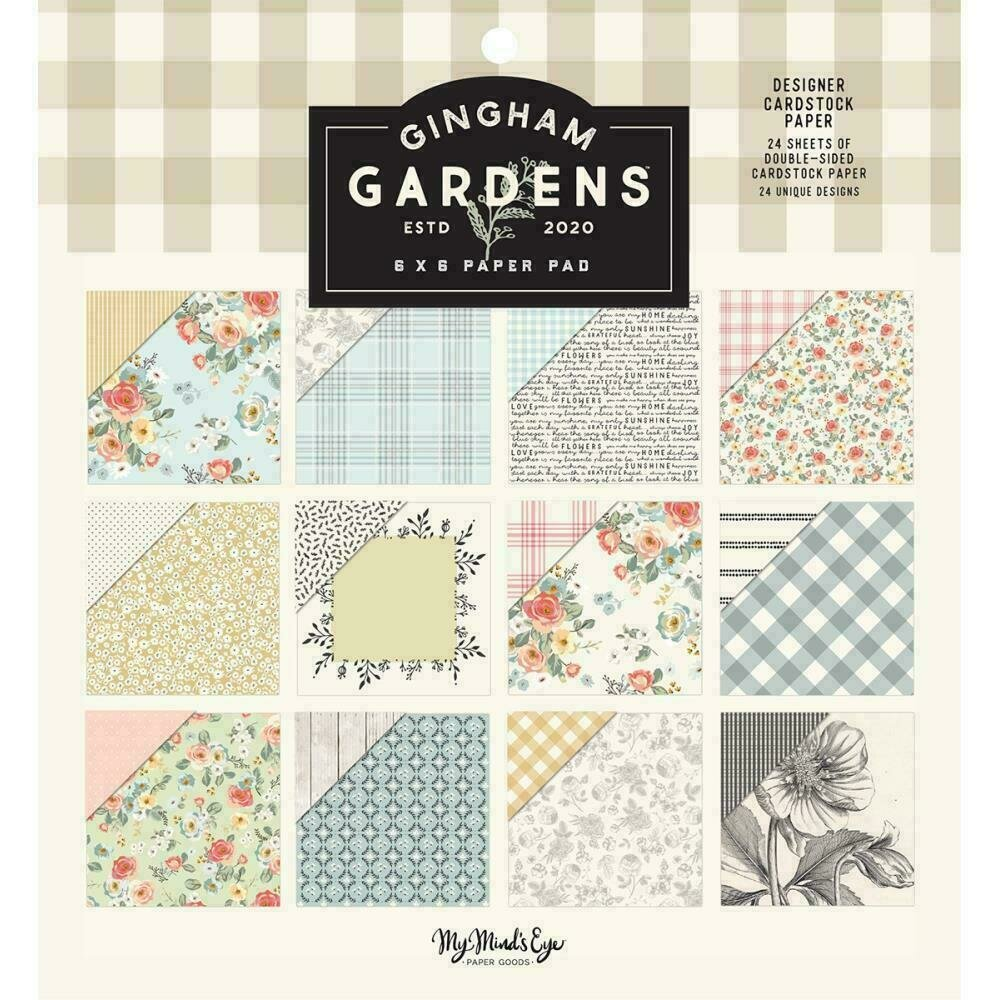 """My Mind's Eye Double-Sided Paper Pad 6""""X6"""" 24/Pkg  Gingham Gardens 12 Designs/2 Each"""