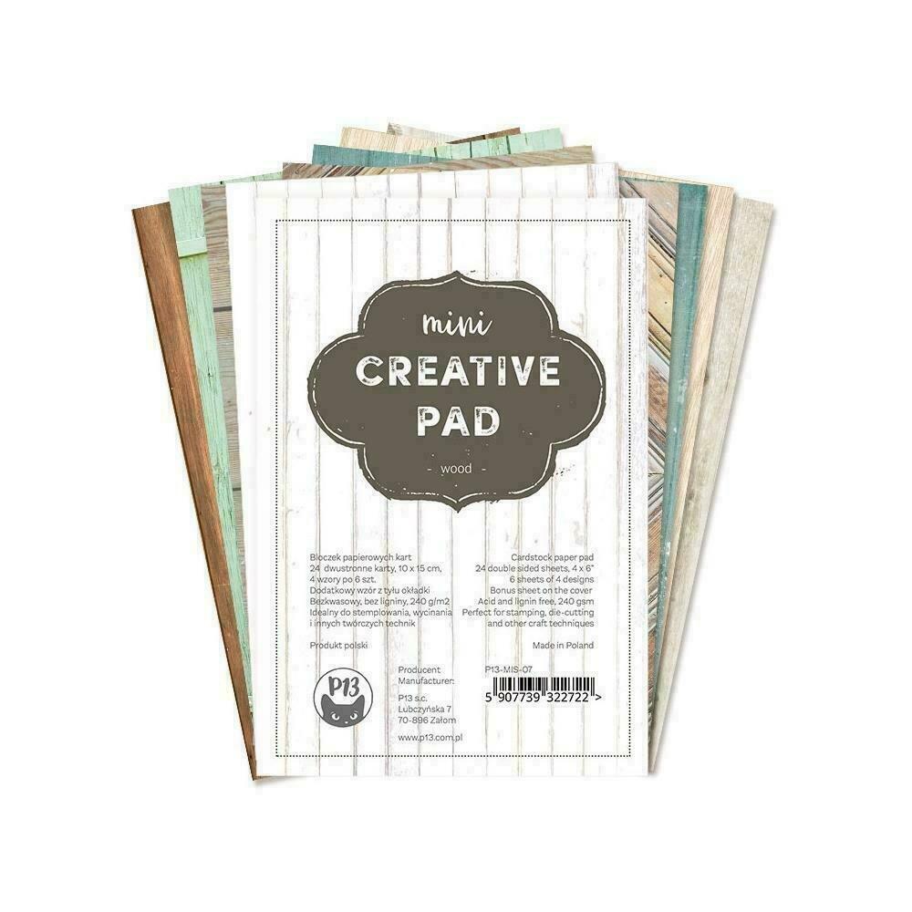 "P13 Mini Creative Paper Pad 6""X4"" 24/Pkg Wood"
