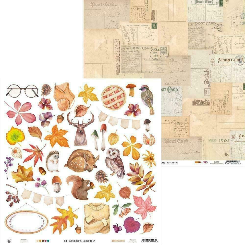 """P13 The Four Seasons-Autumn #7 12""""X12"""" Cut Apart Sheet"""