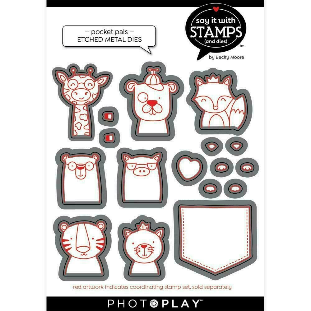 PhotoPlay Say It With Stamps Die Set - Pocket Pals