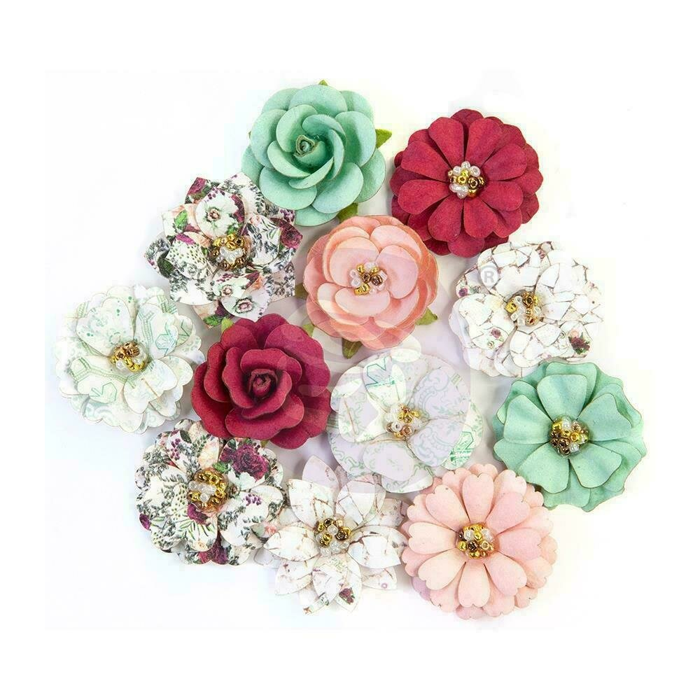 """PRIMA FLOWERS PRETTY MOSAIC COLLECTION - TURQUOISE - 12 PCS / 1.5"""""""