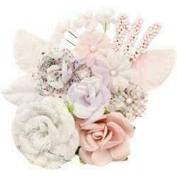 Prima Marketing Fabric Flowers Fragrand Symphony/Lavender Frost 14/Pkg