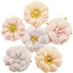 Prima Marketing Fabric Flowers Sweet Melody/Lavender Frost 6/Pkg
