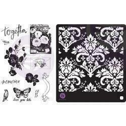 Prima Marketing Lavender Frost Cling Rubber Stamps & Stencil