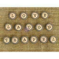Prima Marketing Mechanicals Metal Embellishments Words #1 - Love Travel & Laugh