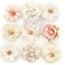 Prima Marketing Mulberry Paper Flowers 12th Night/Lavender Frost 9/Pkg