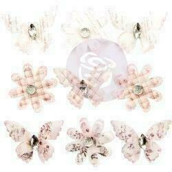 Prima Marketing Mulberry Paper Flowers Pale Wind/Lavender Frost Vellum 9/Pkg