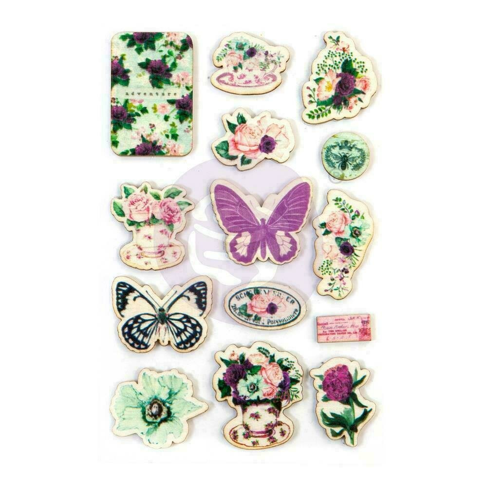 Prima Marketing Pretty Mosaic Wood Stickers 14/Pkg