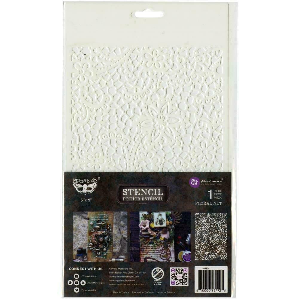 "Prima Marketing Stencil - Floral Net -  6""X9"""