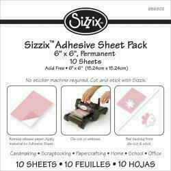 "Sizzix Adhesive Sheets 6""X6"" 10/Pkg Permanent"