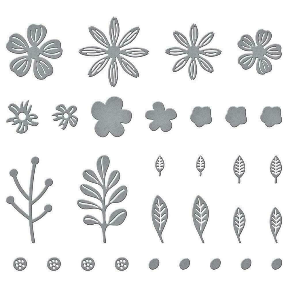 Spellbinders Etched Dies Mini Blooms And Sprigs